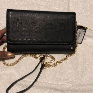 Bebe Naomi Black Neon Gold bag w/ chain Crossbody